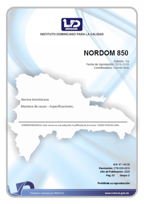 NORDOM 850 - MANTECA DE CACAO – ESPECIFICACIONES.