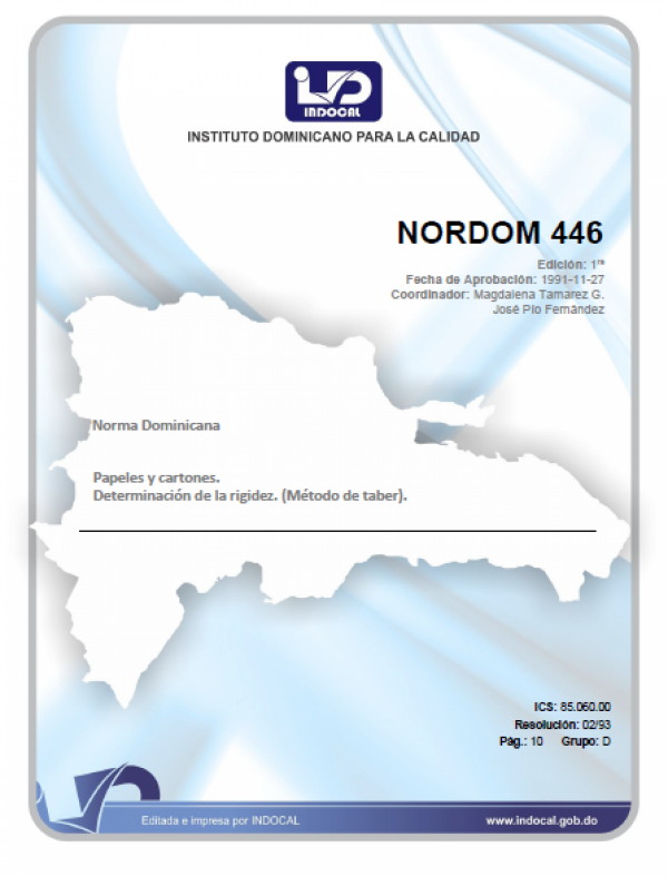 NORDOM 446 - PAPELES Y CARTONES. DETERMINACION DE LA RIGIDEZ. (METODO DE TABER).