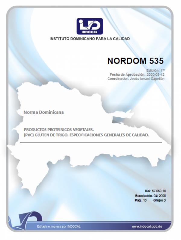 NORDOM 535 - PRODUCTOS PROTEINICOS VEGETALES. (PPV). GLUTEN DE TRIGO. ESPECIFICACIONES GENERALES DE CALIDAD.