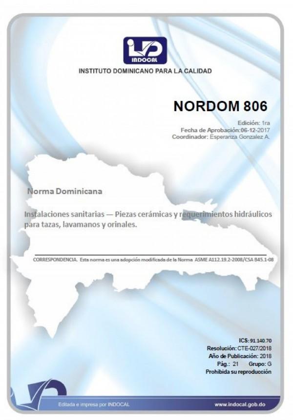 NORDOM 806 - INSTALACIONES SANITARIAS - PIEZAS CERÁMICAS Y REQUERIMIENTOS HIDRÁULICOS PARA TAZAS, LAVAMANOS Y ORINALES.