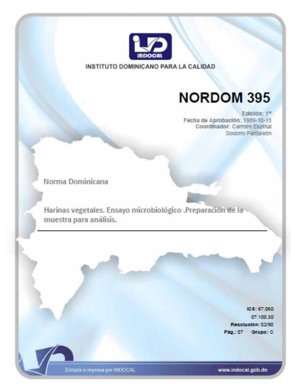 NORDOM 395 - HARINAS VEGETALES. ENSAYO MICROBIOLÓGICO. PREPARACIÓN DE LA MUESTRA PARA ANÁLISIS.
