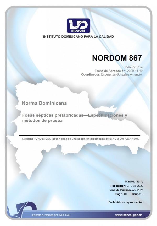 NORDOM 867 - FOSAS SÉPTICAS PREFABRICADAS - ESPECIFICACIONES Y MÉTODOS DE PRUEBA.