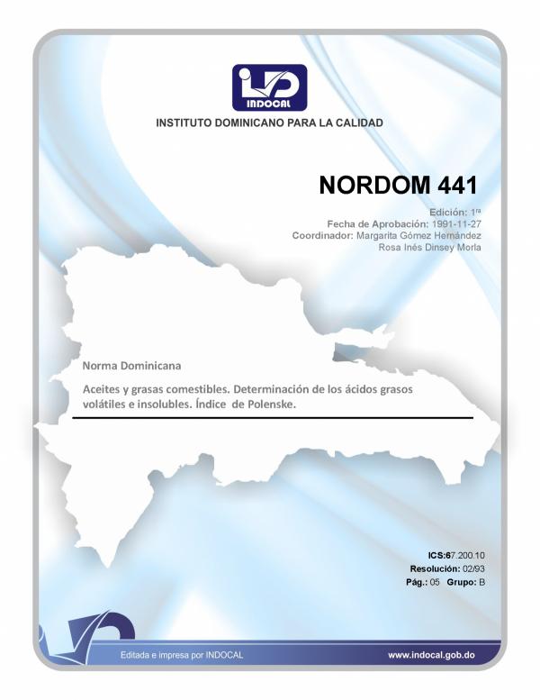 NORDOM 441- ACEITES Y GRASAS COMESTIBLES. DETERMINACION DE LOS ACIDOS GRASOS VOLATILES E INSOLUBLES. INDICE DE POLENSKE.