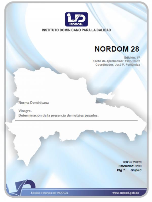 NORDOM 28 - VINAGRE. DETERMINACION DE LA PRESENCIA DE METALES PESADOS.