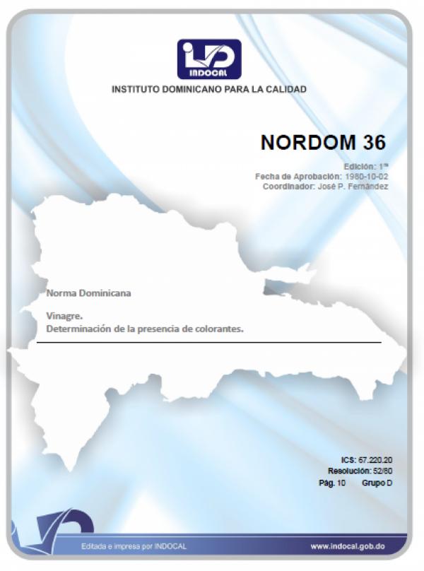 NORDOM 36 - VINAGRE. DETERMINACION DE LA PRESENCIA DE COLORANTES.