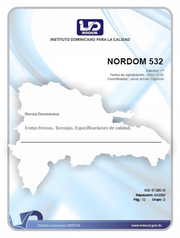 NORDOM 532 - FRUTAS FRESCAS. TORONJAS. ESPECIFICACIONES DE CALIDAD.