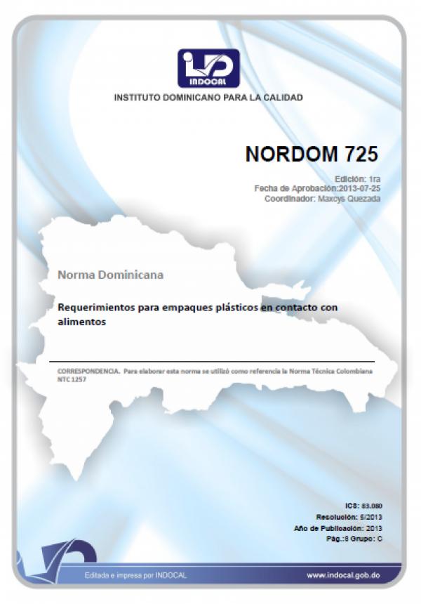 NORDOM 725- REQUERIMIENTOS PARA EMPAQUES PLÁSTICOS EN CONTACTO CON ALIMENTOS.