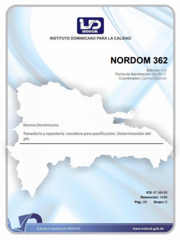NORDOM 362 - PANADERIA Y REPOSTERIA. LEVADURA PARA PANIFICACION. DETERMINACION DEL PH.