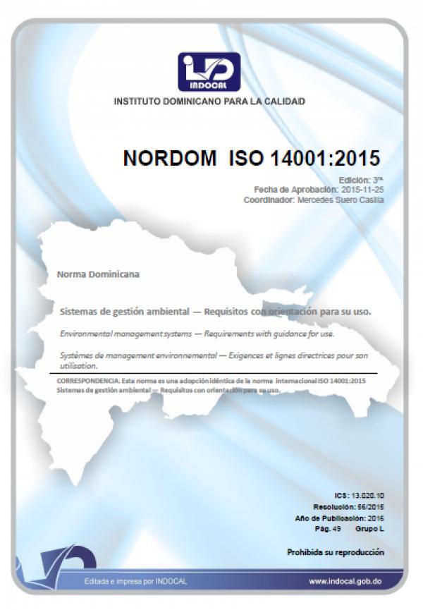NORDOM ISO 14001:2015 - SISTEMAS DE GESTIÓN AMBIENTAL - REQUISITOS CON ORIENTACIÓN PARA SU USO.