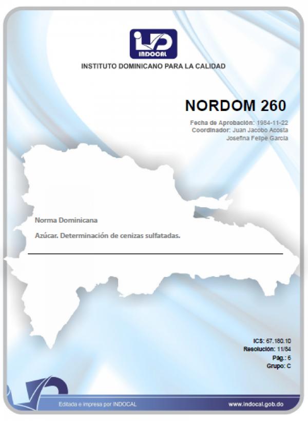 NORDOM 260 - AZUCAR. DETERMINACION DE CENIZAS SULFATADAS.