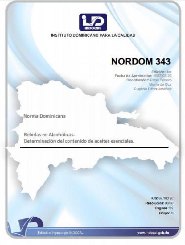 NORDOM 343 - BEBIDAS NO ALCOHÓLICAS. DETERMINACIÓN DEL CONTENIDO DE ACEITES ESENCIALES.