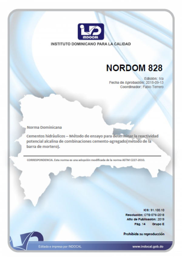 NORDOM 828- CEMENTOS HIDRÁULICOS - MÉTODO DE ENSAYO PARA DETERMINAR LA REACTIVIDAD POTENCIAL ALCALINA DE COMBINACIONES CEMENTO-AGREGADO (MÉTODO DE LA BARRA DE MORTERO).