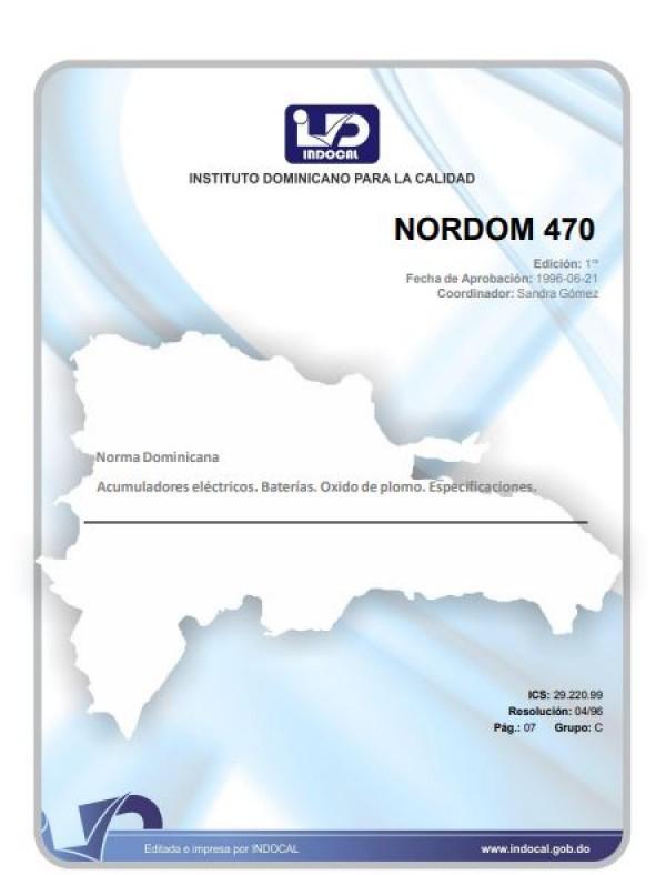 NORDOM 470- ACUMULADORES ELÉCTRICOS. BATERÍAS. OXIDO DE PLOMO. ESPECIFICACIONES.