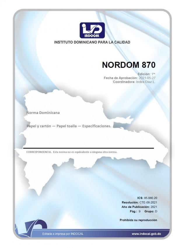 NORDOM 870 - PAPEL Y CARTÓN - PAPEL TOALLA - ESPECIFICACIONES.