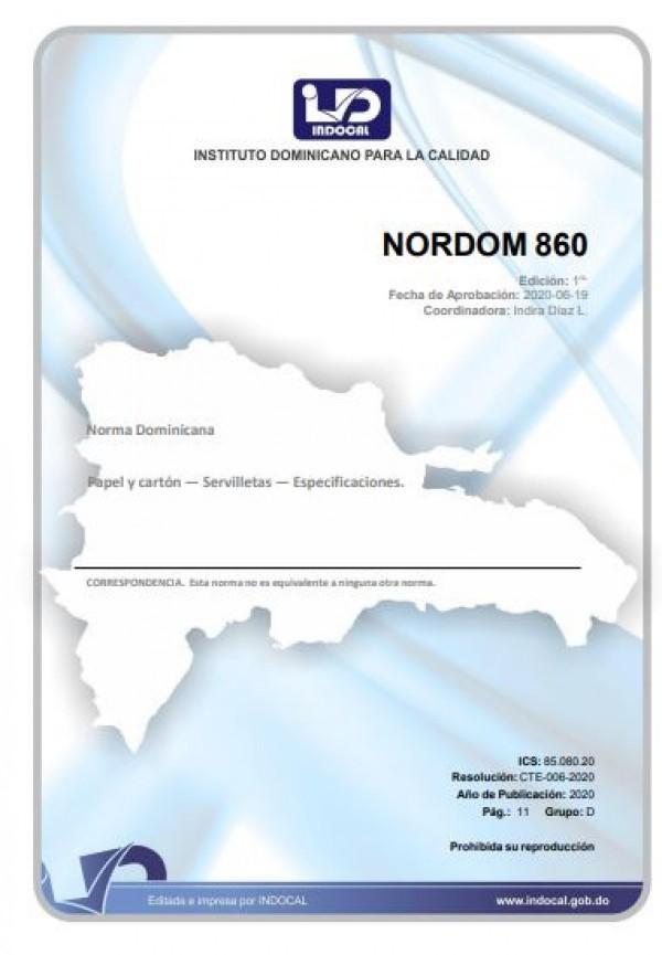 NORDOM 860- PAPEL Y CARTÓN - SERVILLETA -  ESPECIFICACIONES.