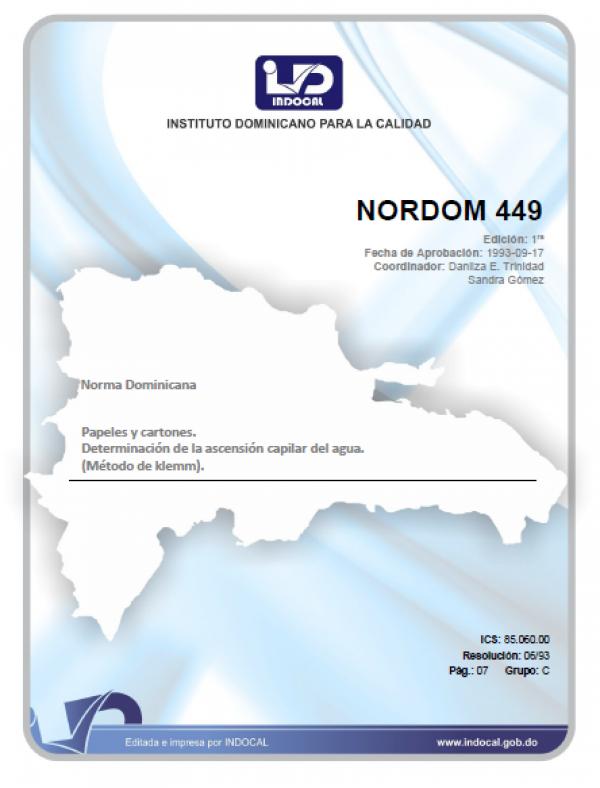 NORDOM 449- PAPELES Y CARTONES. DETERMINACION DE LA ASCENSION CAPILAR DEL AGUA. (METODO KLEMM).