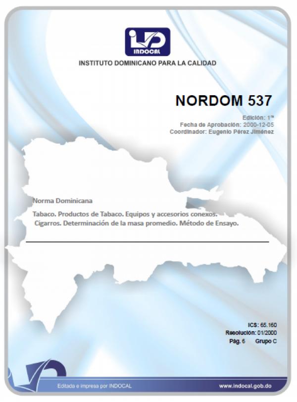 NORDOM 537- TABACO, PRODUCTOS DE TABACO, EQUIPOS Y ACCESORIOS CONEXOS. CIGARROS. DETERMINACION DE LA MASA PROMEDIO. METODO DE ENSAYO.