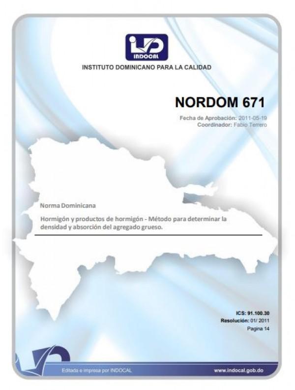 NORDOM 671- HORMIGÓN Y PRODUCTOS DE HORMIGÓN - MÉTODO PARA DETERMINAR LA DENSIDAD Y ABSORCIÓN DEL AGREGADO GRUESO.
