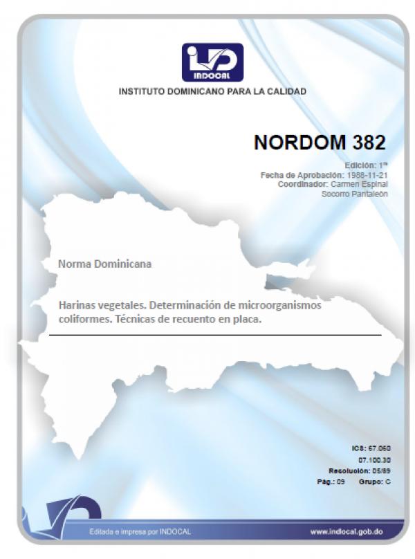 NORDOM 382 - HARINAS VEGETALES. DETERMINACION DE MICROORGANISMOS COLIFORMES. TECNICA DE RECUENTO EN PLACA.
