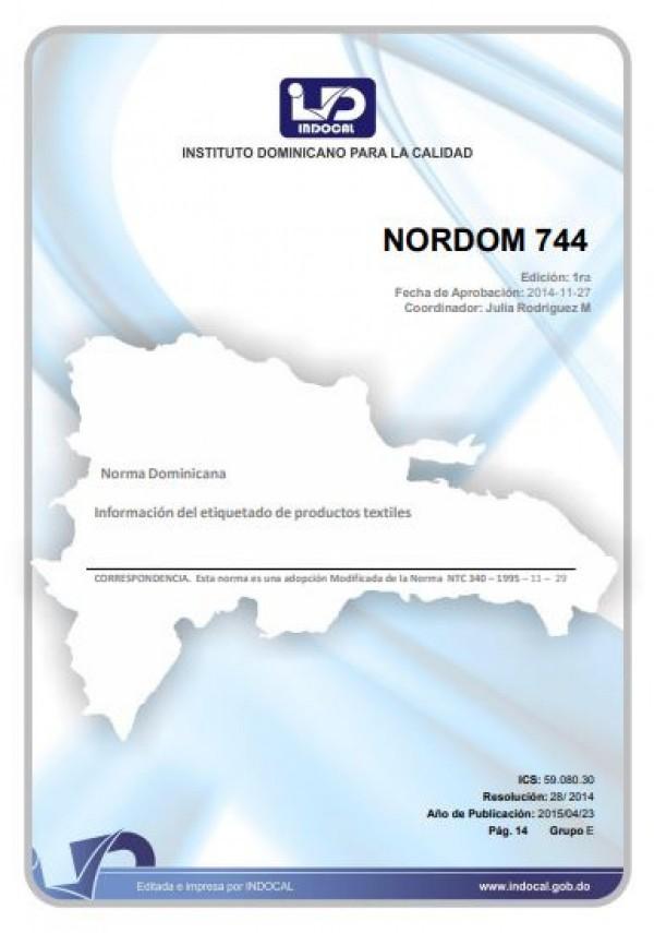 NORDOM 744- INFORMACIÓN DEL ETIQUETADO DE PRODUCTOS TEXTILES.