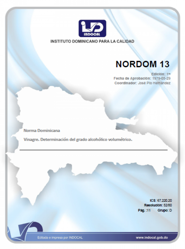 NORDOM 13 - VINAGRE. DETERMINACION DEL GRADO ALCOHOLICO VOLUMETRICO.