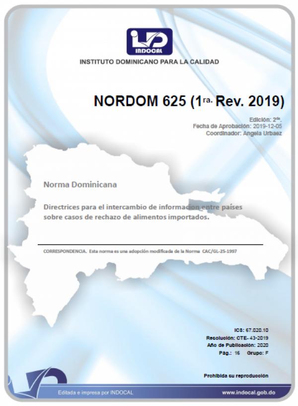NORDOM 625 - DIRECTRICES PARA EL INTERCAMBIO DE INFORMACIÓN ENTRE PAÍSES SOBRE CASOS DE RECHAZO DE ALIMENTOS IMPORTADOS. (1RA. REV. 2019)