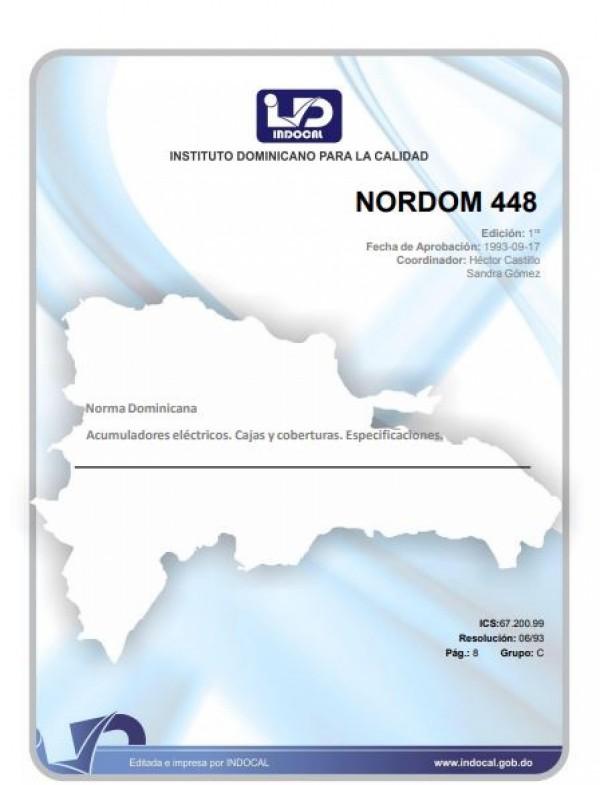NORDOM 448- ACUMULADORES ELÉCTRICOS. CAJAS Y COBERTURAS. ESPECIFICACIONES.