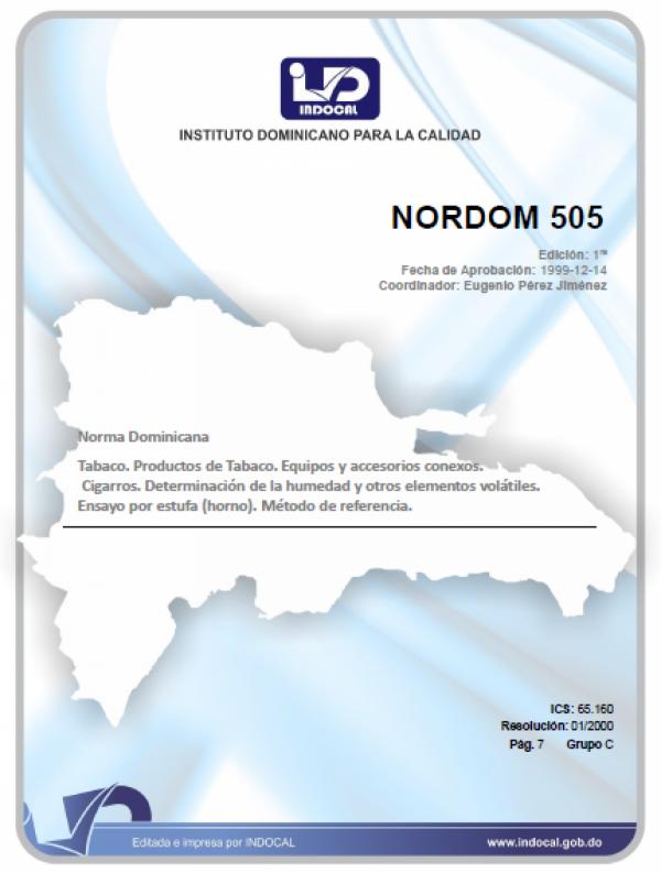NORDOM 505 - TABACO, PRODUCTOS DE TABACO, EQUIPOS Y ACCESORIOS CONEXOS. CIGARROS. DETERMINACION DE LA HUMEDAD Y OTROS ELEMENTOS VOLATILES. ENSAYO EN ESTUFA (HORNO). METODO DE REFERENCIA.