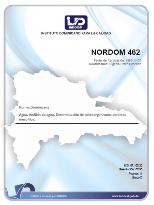 NORDOM 462- AGUA. ANÁLISIS DE AGUA. DETERMINACIÓN DE MICROORGANISMOS AEROBIOS MESOFILOS.