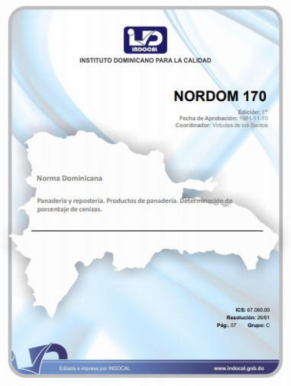 NORDOM 170 - PANADERÍA Y REPOSTERÍA. PRODUCTOS DE PANADERÍA. DETERMINACIÓN DE PORCENTAJE DE CENIZAS.