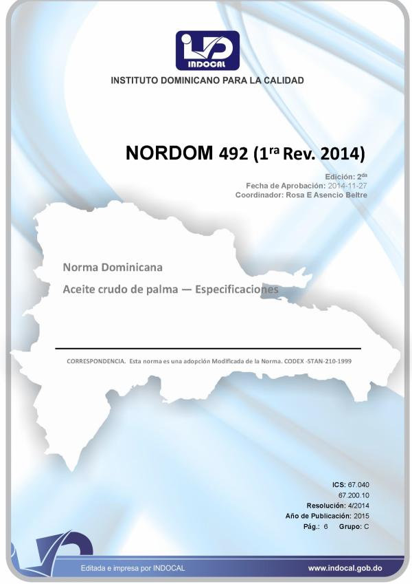 NORDOM 492- ACEITE CRUDO DE PALMA. ESPECIFICACIONES. (1RA REV. 2014)