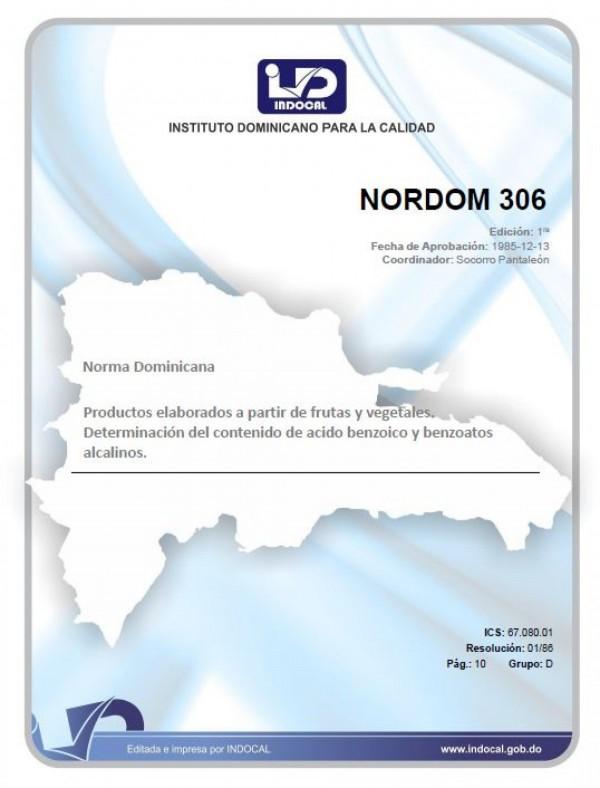 NORDOM 306 - PRODUCTOS ELABORADOS A PARTIR DE FRUTAS Y VEGETALES. DETERMINACIÓN DEL CONTENIDO DE ÁCIDO BENZOICO Y BENZOATOS ALCALINOS.