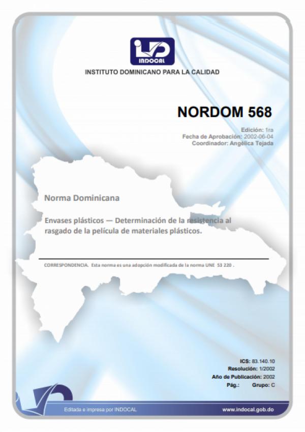 NORDOM 568 - ENVASES PLASTICOS. DETERMINACION DE LA RESISTENCIA DEL RASGADO DE LA PELICULA DE MATERIALES PLASTICOS.