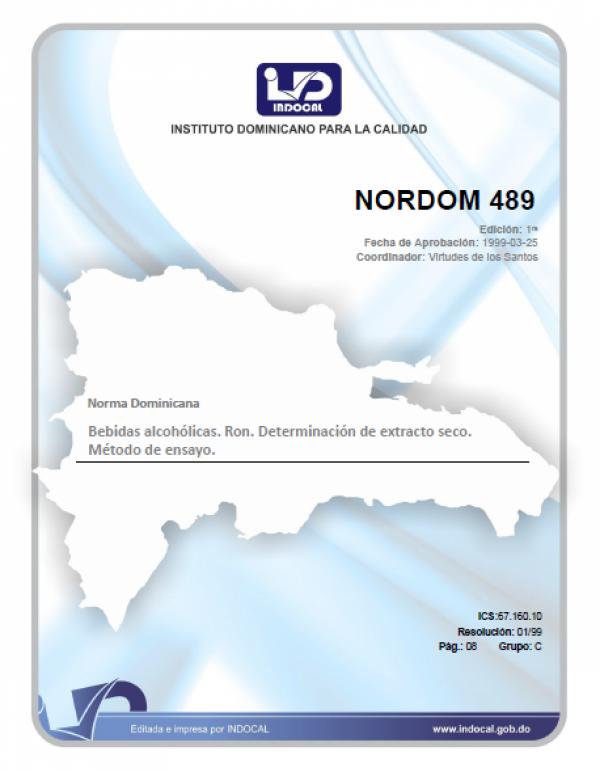 NORDOM 489 - BEBIDAS ALCOHOLICAS. RON. DETERMINACION DEL EXTRACTO SECO. METODO DE ENSAYO.