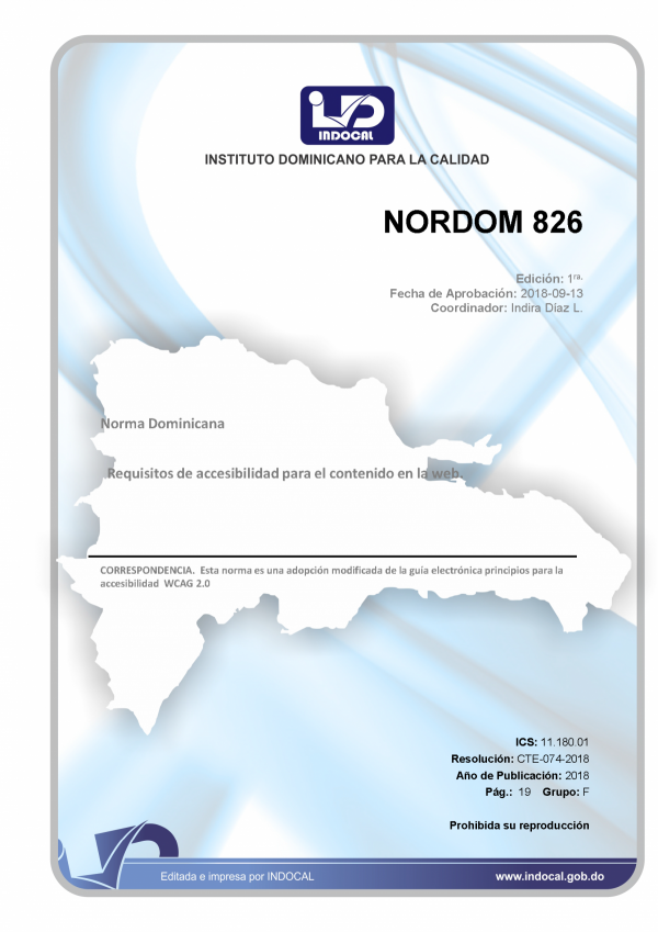 NORDOM 826 - REQUISITOS DE ACCESIBILIDAD PARA EL CONTENIDO EN LA WEB.