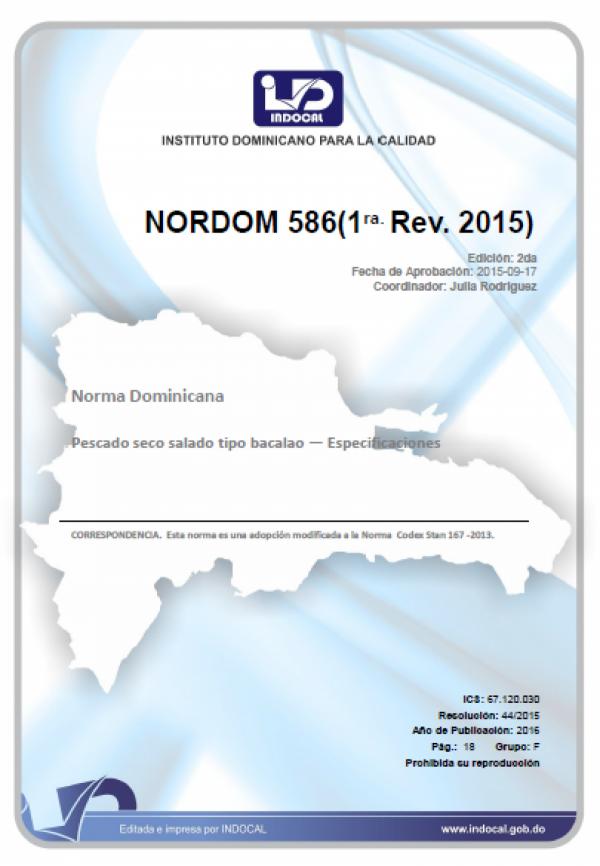 NORDOM 586 - PESCADO SECO SALADO TIPO BACALAO ? ESPECIFICACIONES. (1ra. Rev. 2015)