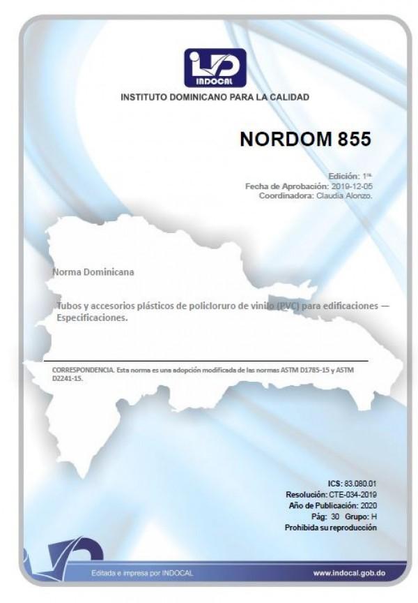 NORDOM 855 - TUBOS Y ACCESORIOS PLÁSTICOS DE POLICLORURO DE VINILO (PVC) PARA EDIFICACIONES - ESPECIFICACIONES.