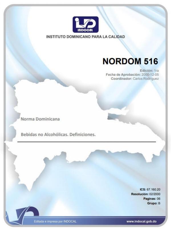 NORDOM 516 - BEBIDAS NO ALCOHÓLICAS. DEFINICIONES.