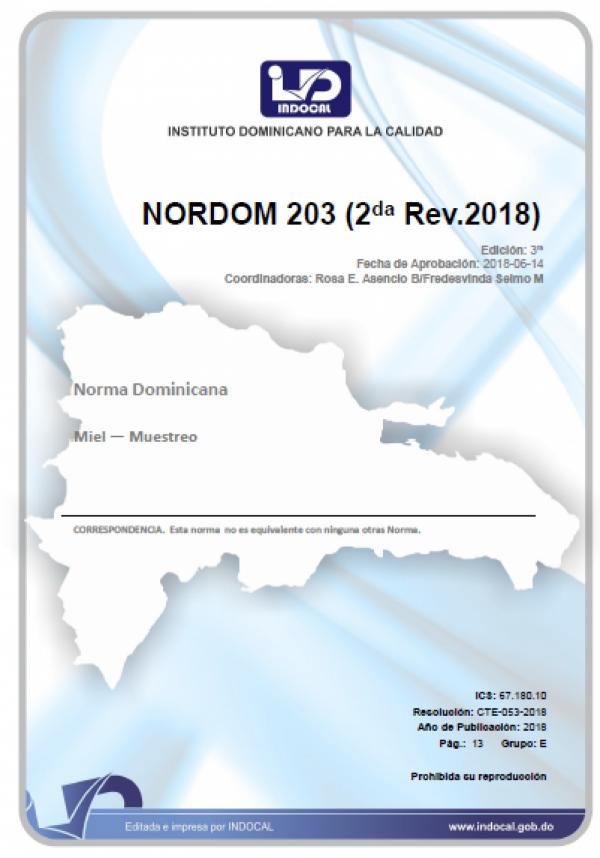 NORDOM 203 - MIEL — MUESTREO (2DA REV.2018)