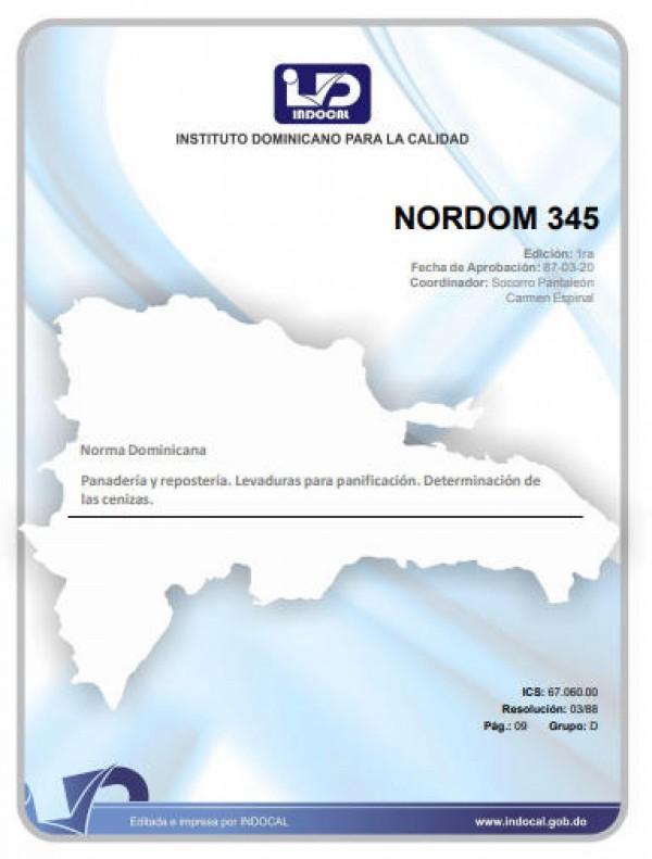 NORDOM 345 - PANADERIA Y REPOSTERIA. LEVADURAS PARA PANIFICACION. DETERMINACION DE LAS CENIZAS.