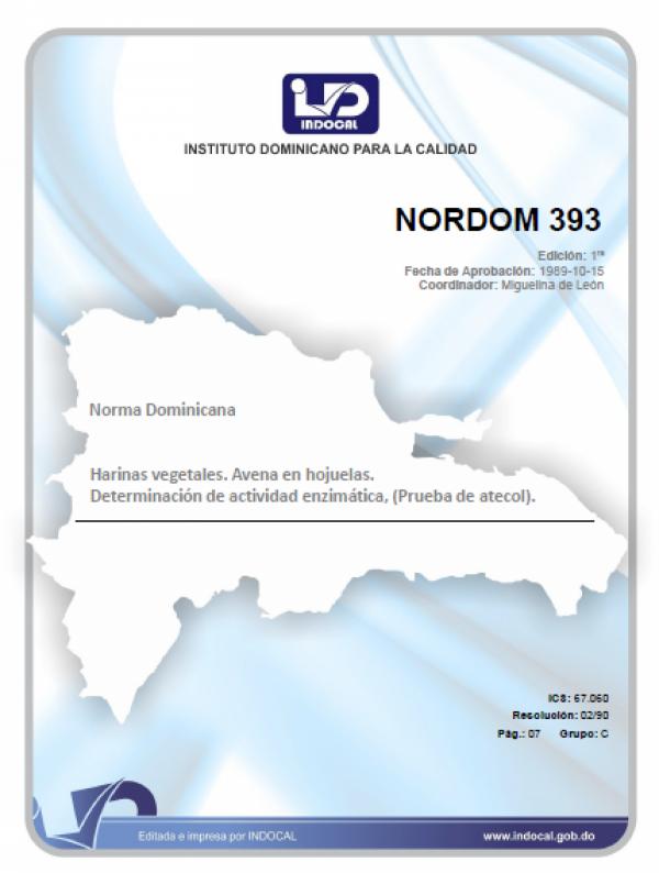 NORDOM 393 - HARINAS VEGETALES. AVENA EN HOJUELAS. DETERMINACION DE LA ACTIVIDAD ENZIMATICA. (PRUEBA DE CATECOL).