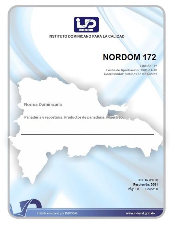 NORDOM 172 - PANADERÍA Y REPOSTERÍA.  PRODUCTOS DE PANADERÍA. MUESTREO.