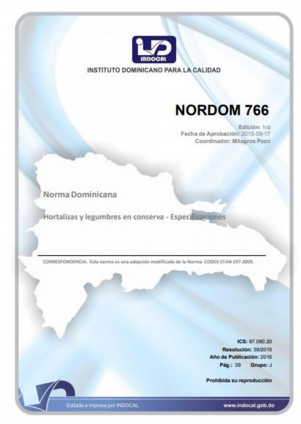 NORDOM 766- HORTALIZAS Y LEGUMBRES EN CONSERVA - ESPECIFICACIONES.