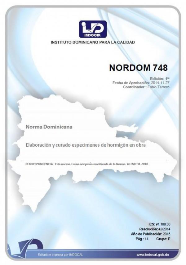 NORDOM 748 - ELABORACIÓN Y CURADO ESPECÍMENES DE HORMIGÓN EN OBRA.