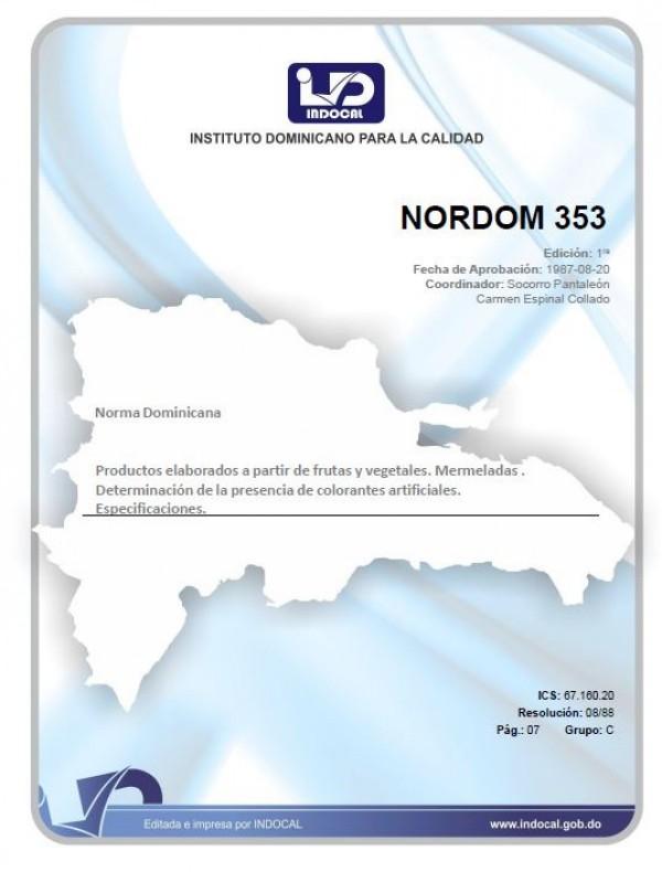 NORDOM 353 - PRODUCTOS ELABORADOS A PARTIR DE FRUTAS Y VEGETALES. MERMELADAS. DETERMINACIÓN DE LA PRESENCIA DE COLORANTES ARTIFICIALES. ESPECIFICACIONES.