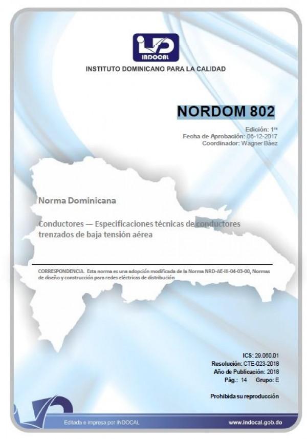 NORDOM 802 - CONDUCTORES — ESPECIFICACIONES TÉCNICAS DE CONDUCTORES TRENZADOS DE BAJA TENSIÓN AÉREA