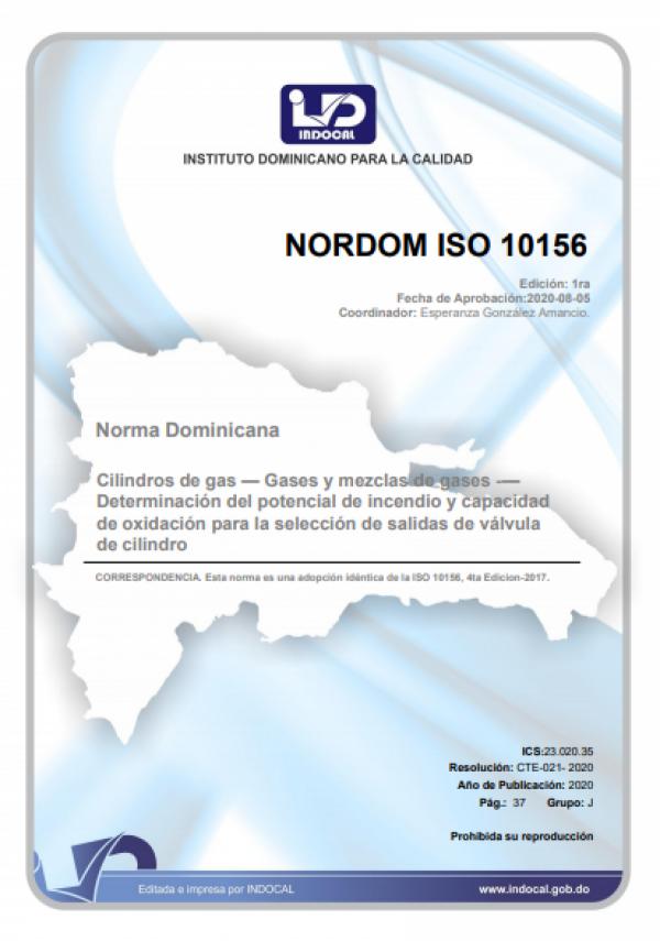 NORDOM ISO 10156 - CILINDROS DE GAS - GASES Y MEZCLAS DE GASES - DETERMINACIÓN DEL POTENCIAL DE INCENDIO Y CAPACIDAD DE OXIDACIÓN PARA LA SELECCIÓN DE SALIDAS DE VÁLVULA DE CILINDRO