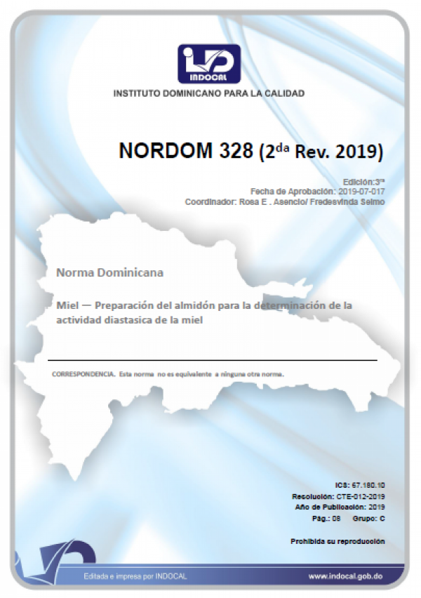 NORDOM 328 - MIEL-PREPARACION DEL ALMIDON PARA LA DETERMINACION DE LA ACTIVIDAD DIASTASICA DE LA MIEL. (2DA. REV. 2019)