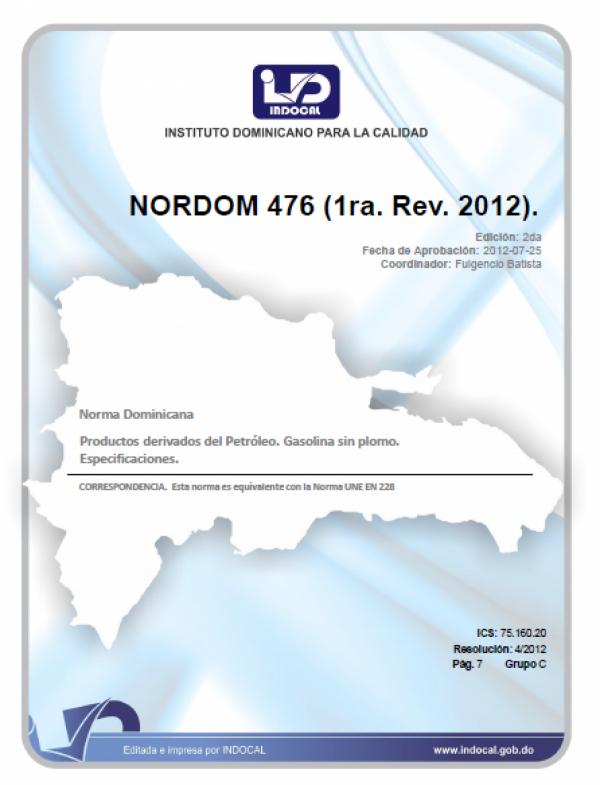 NORDOM 476 - PRODUCTOS DERIVADOS DEL PETRÓLEO. GASOLINA SIN PLOMO.  ESPECIFICACIONES. (1RA. REV. 2012)