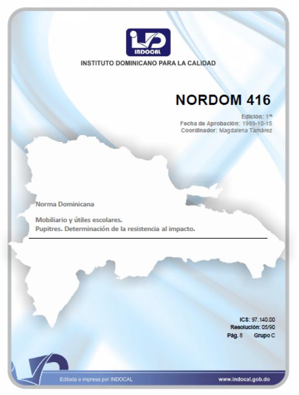 NORDOM 416 - MOBILIARIO Y UTILES ESCOLARES. PUPITRES. DETERMINACION DE LA RESISTENCIA AL IMPACTO. (1RA. REV. 05/08/1996).